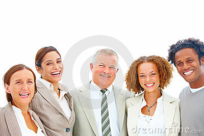 Group of successful happy business people on white