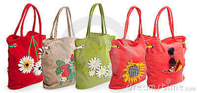 Group of summer beach bag with flowers