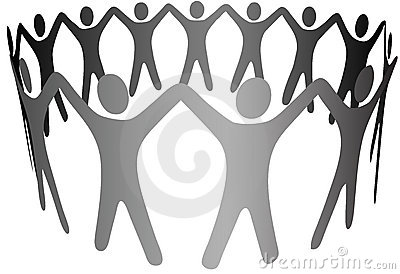 Group Symbol People Arms Up in Circle Ring Chain