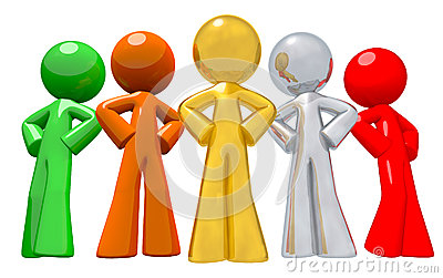 Group of Team Workers Various Colors