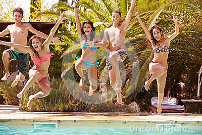 Group of teenage friends jumping into swimming pool stock photo image 52857675 for Swimming pools drank instrumental