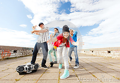 Group of teenagers dancing