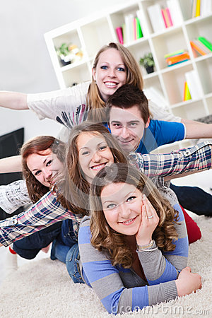 Group of teenagers having fun indoor
