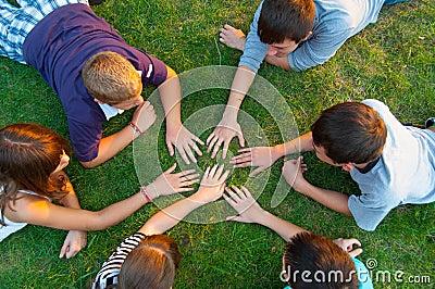 Group of teenagers having fun outdoor
