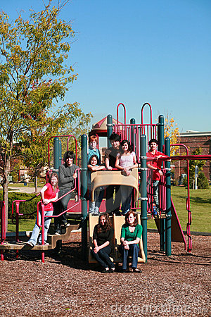 Group of teens on playgroung