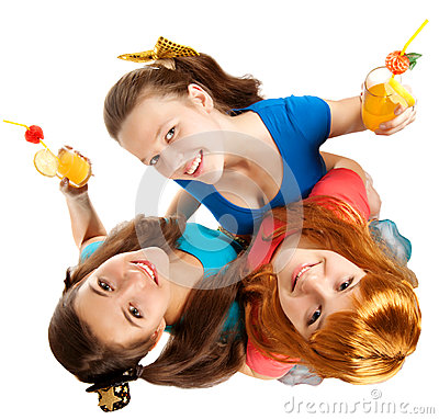 Group of teens or  students have fun on  party