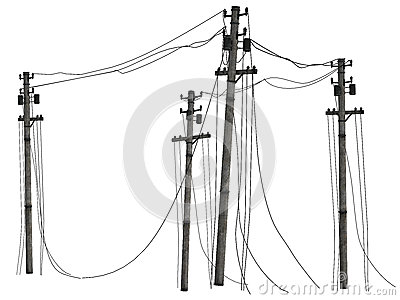 Group of telephone poles
