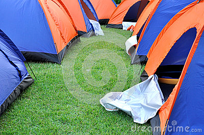 Group tent in camp and arrangment