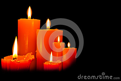 Group of three candles lights