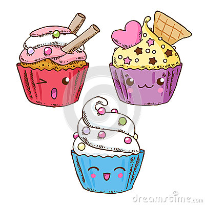 Group of three cute kawaii donuts stock vector image for Immagini disegni kawaii