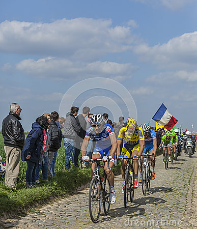 Group of Three Cyclists- Paris-Roubaix 2014 Editorial Image