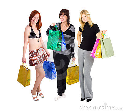 Group of three girls out for shopping