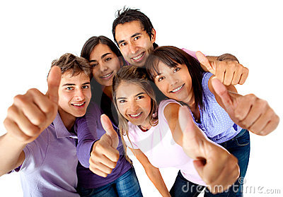Group with thumbs-up