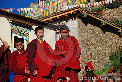 A group of Tibetan boy lamas Editorial Photo