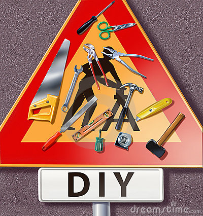 Group of tools spread on a traffic sign with DIY m