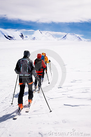 Free Group Touring Skiers Royalty Free Stock Photo - 5059455