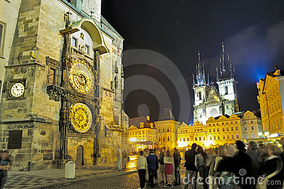 Group of tourists in center of Prague at night Editorial Photography