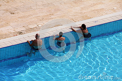 Group Of Tourists Take Water Treatments At Swimming Pool Editorial Stock Image Image 35057734