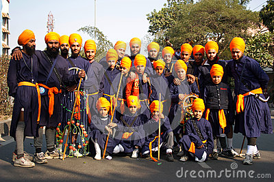 A group of traditionally dressed young sikh boys Editorial Photography