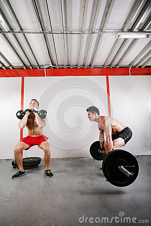 Group of two people exercising