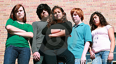 Group of unhappy teens
