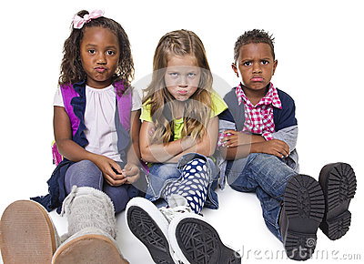 Group of unhappy and upset kids