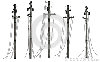 Group of utility poles
