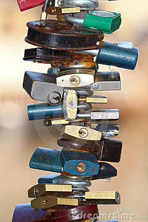 Group of various padlocks