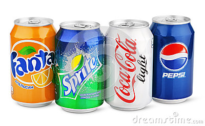 Group of various soda drinks in aluminum cans isolated on white Editorial Stock Image