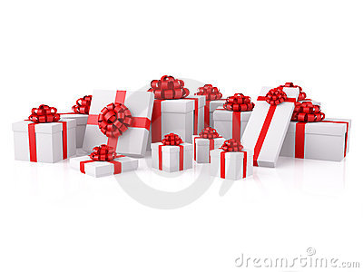 Group of white gift boxes with red festive bows