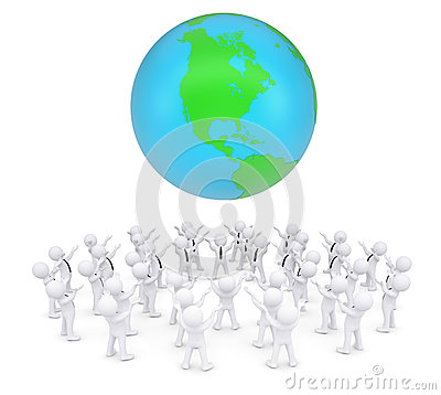 Group of white people worshiping earth