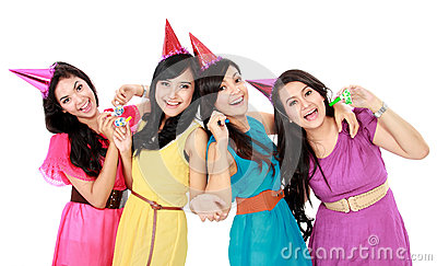 Group of woman celebrating new year