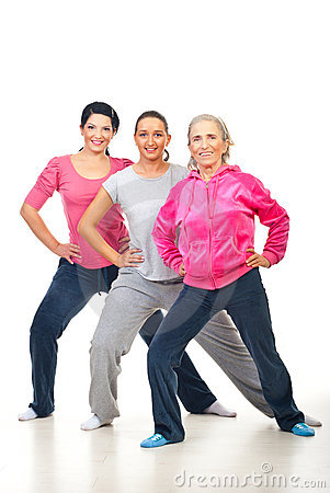 Group of women doing fitness