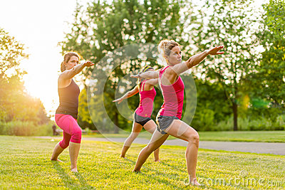 group of 3 women doing yoga in nature stock images  image