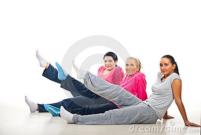 Group of women lifting legs