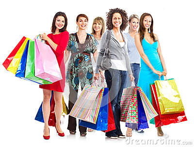 Group of women with shopping bags.