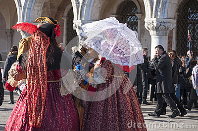Group of women at the venetian carnival Editorial Photo