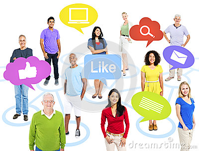 Group of World People With Social Media Icons