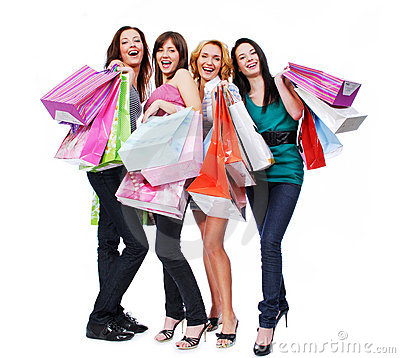 Free Group Young Adult People With Colored Bags Stock Photography - 7692872