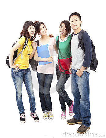 Group of young asian students