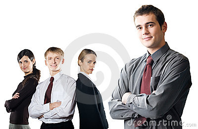 Group of young business people isolated on white
