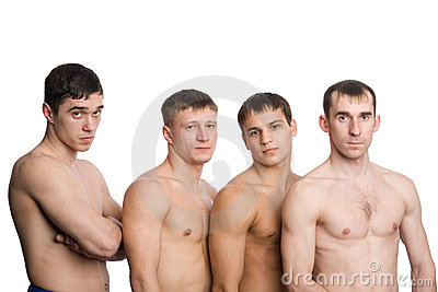 Group of young guys with muscular bodies