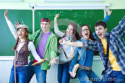 Group of young  happy students