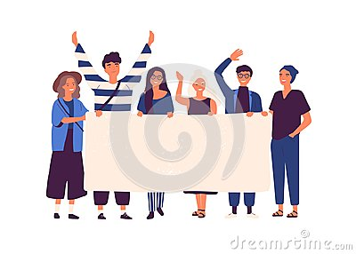 Group of young men and women standing together and holding blank banner. People taking part in parade or rally. Male and Vector Illustration
