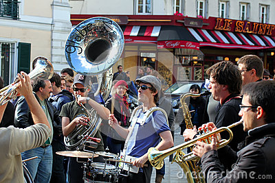 Group of young musicians in Paris Editorial Photo