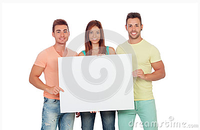 Group of young people with a blank placard