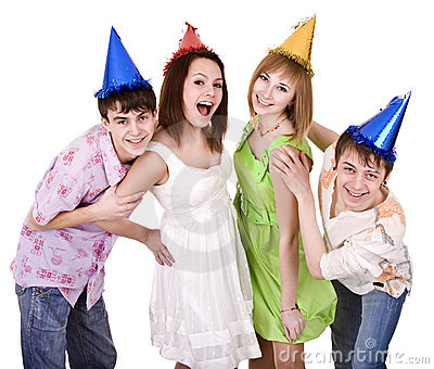 Group of young people celebrate birthday.
