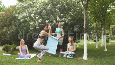group of young people have meditation on yoga class yoga