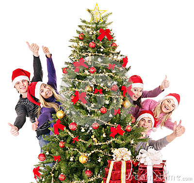 Free Group Young People In Santa Hat. Royalty Free Stock Image - 35353496