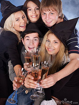 Group young people at nightclub.